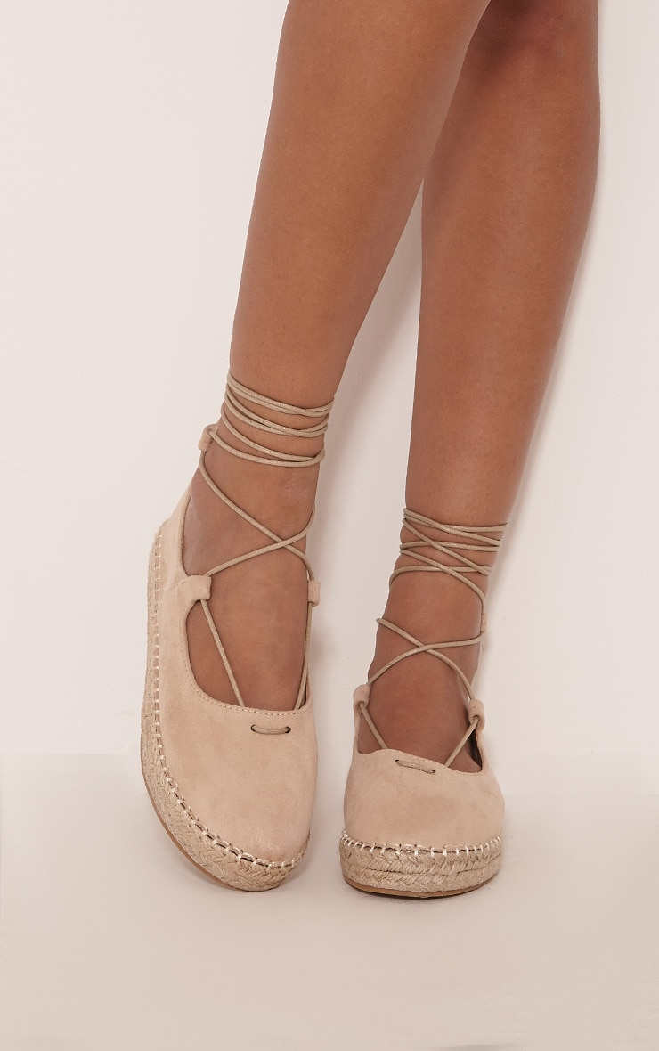 Lani Cream Lace Up Espadrilles 1