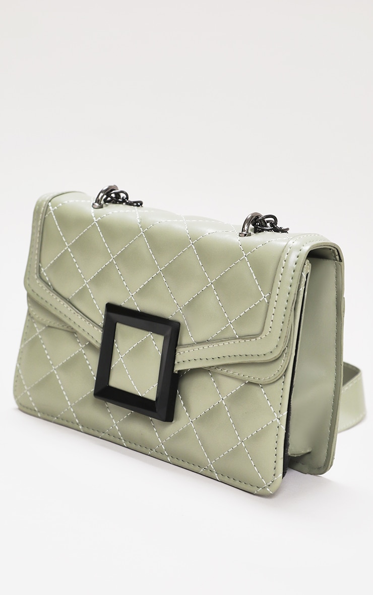 Sage Green Quilted Cross Body Bag 2