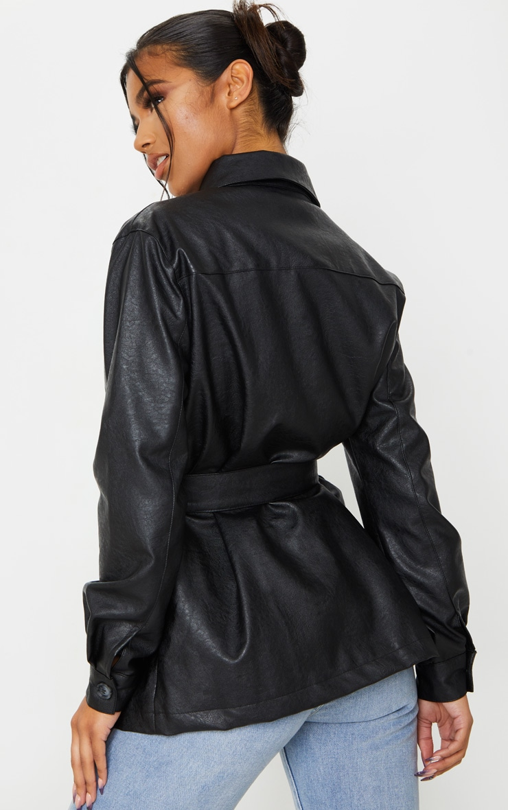 Black PU Oversized Belted Jacket 2