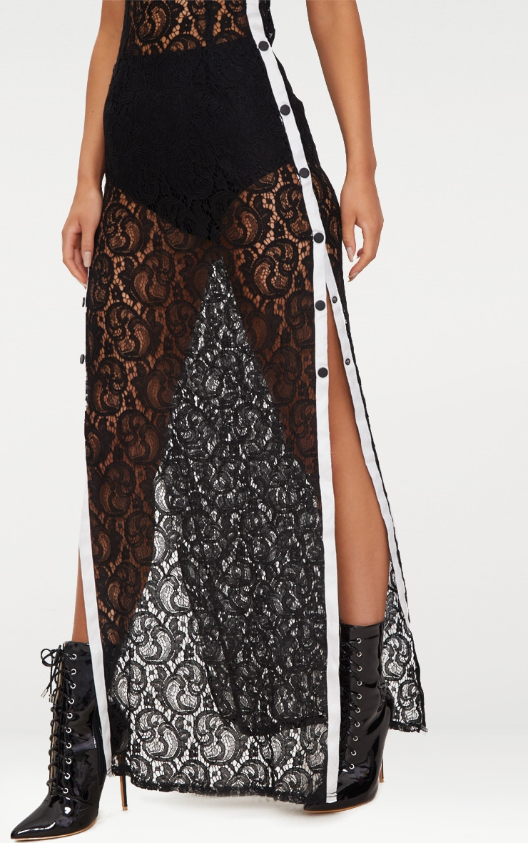 Black Strappy Sheer Lace Popper Side Maxi Dress 5