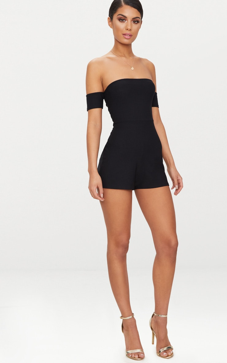 Black Crepe Short Sleeve Bardot Playsuit 3