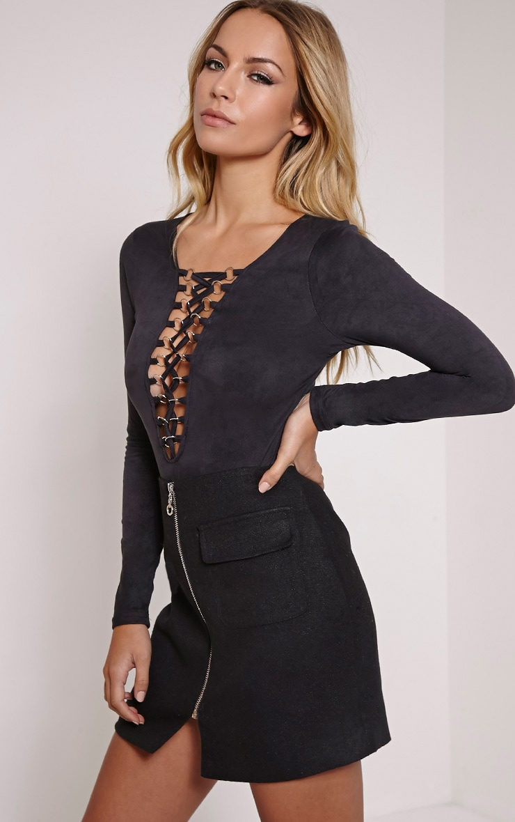 Rylee Black Lace Up Faux Suede Bodysuit 2