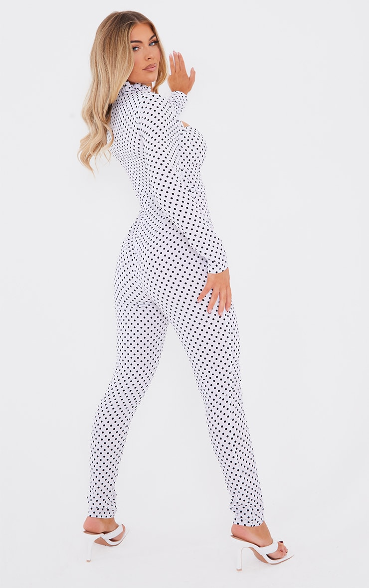 White Polka Dot Tie Neck Cup Detail Long Sleeve Jumpsuit 2