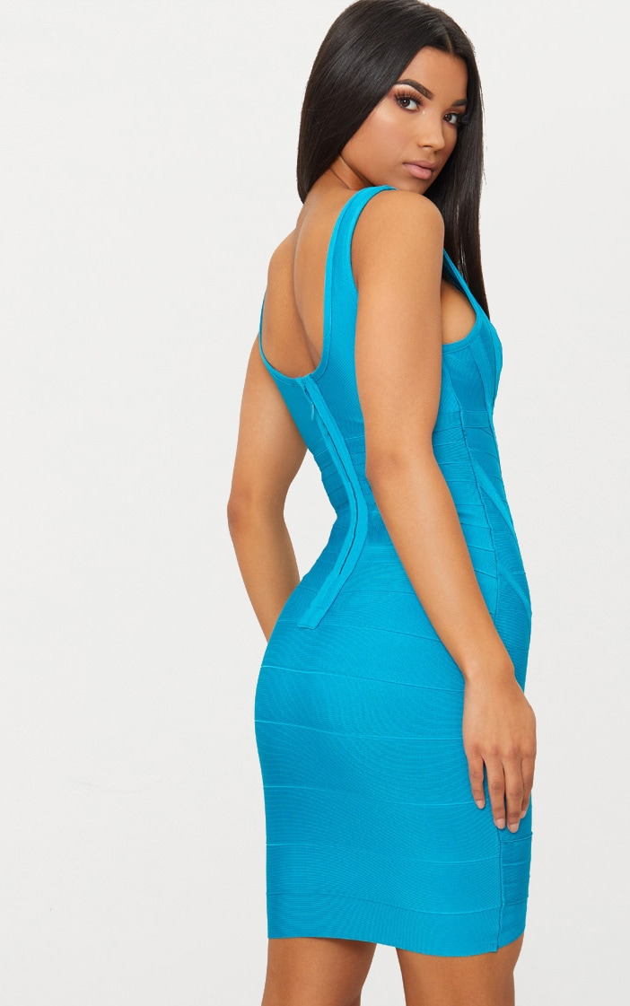 Teal Bandage Plunge Wrap Skirt Bodycon Dress 2