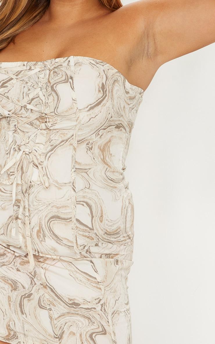 Plus Cream Marble Print Lace Up Bodycon Dress 4