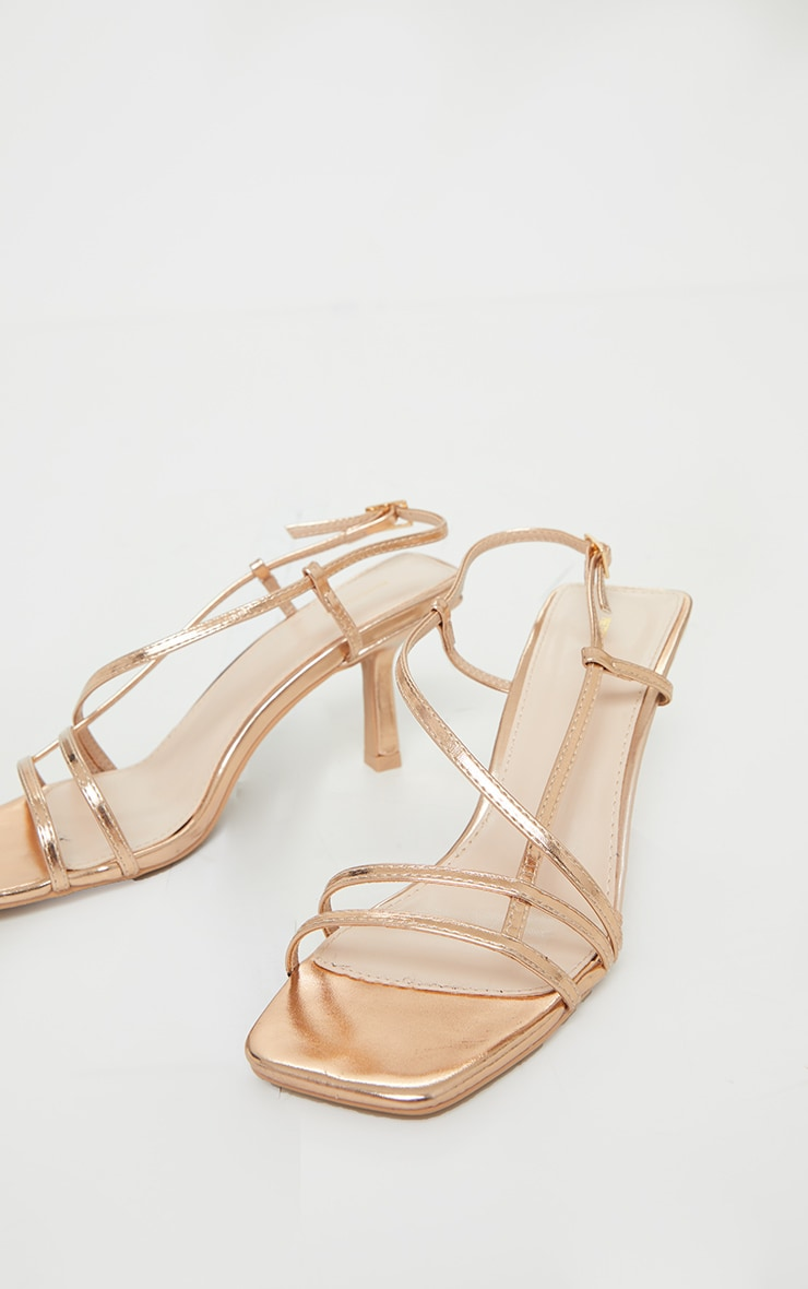 Rose Gold Low Heel Strappy Sandals 3