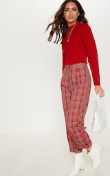 Red Ribbed Cropped Knitted Jumper 4