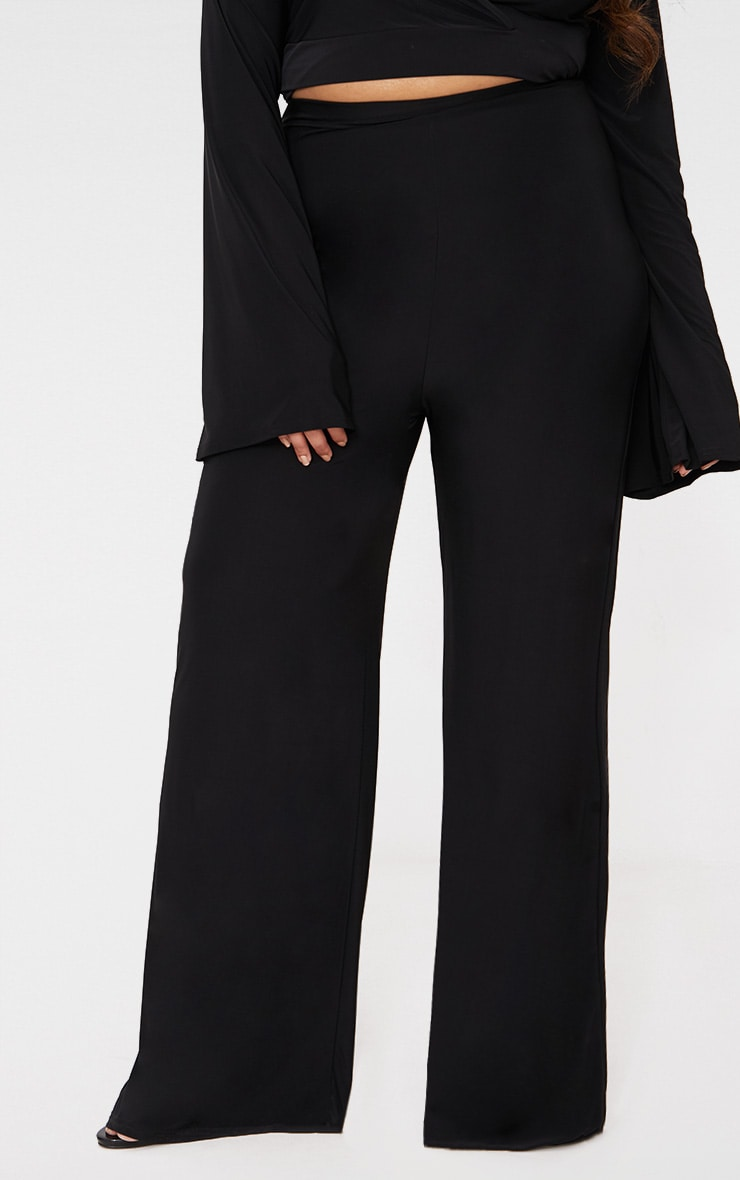 Plus Black Slinky Wide Leg Trousers 2