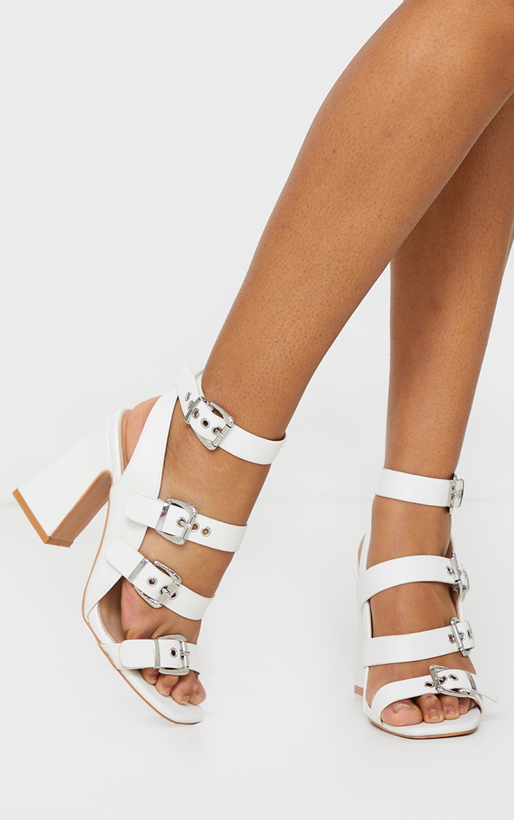 White Block Heel Multi Buckle Sandals 1