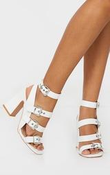 White Block Heel Multi Buckle Sandals 1