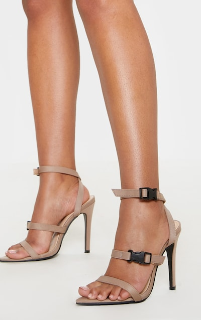 ab411408f87 Taupe Point Toe Buckle Detail Sandal