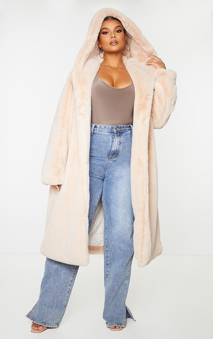 Plus Nude Premium Longline Faux Fur Hooded Coat 1