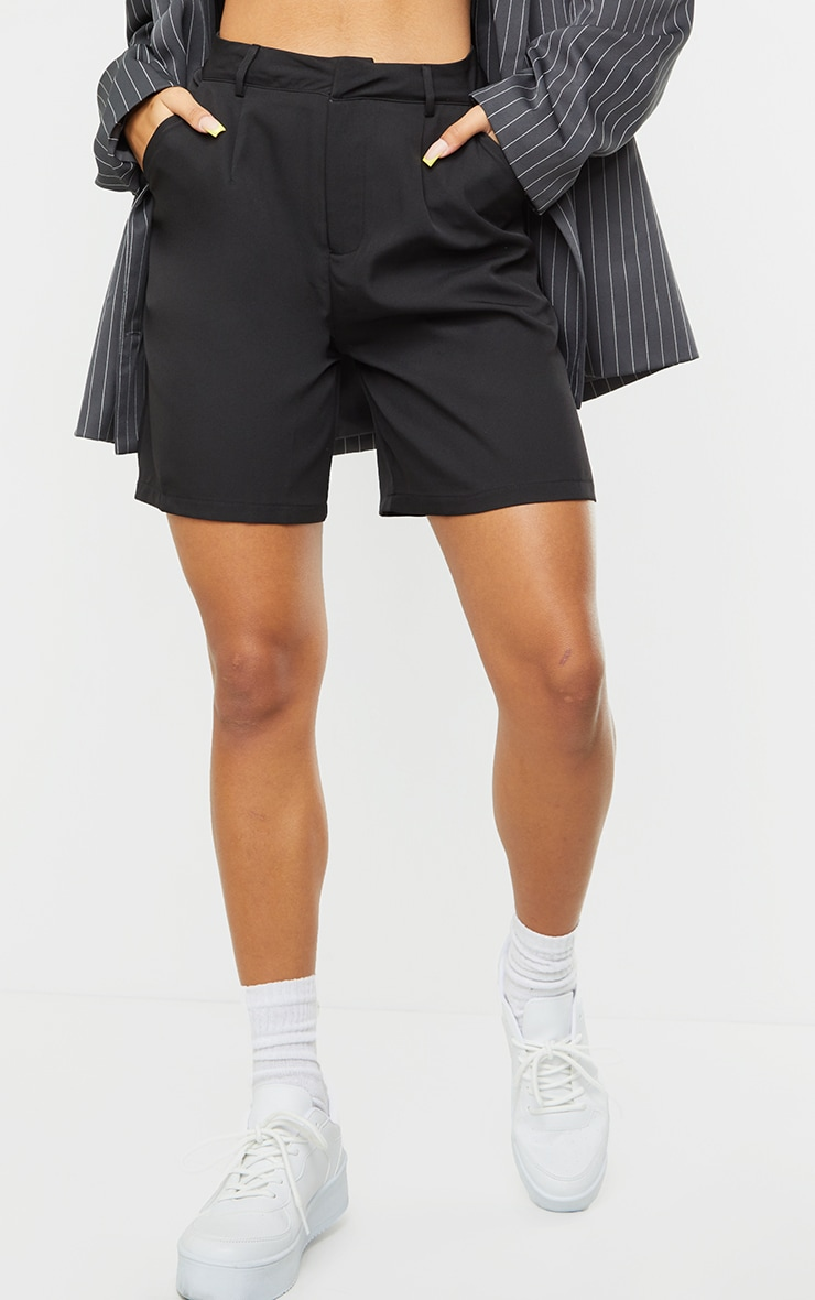 Black Woven Tailored Shorts 2