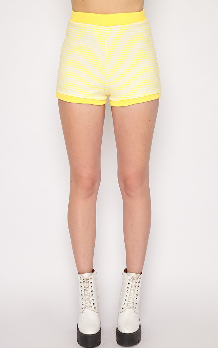 Mabel Yellow Gingham Shorts 3