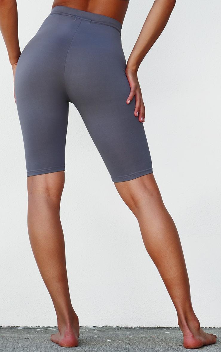 PRETTYLITTLETHING Grey Sport Zip Up Bike Shorts 3