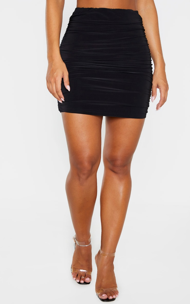 Black Slinky Ruched Mini Skirt 2