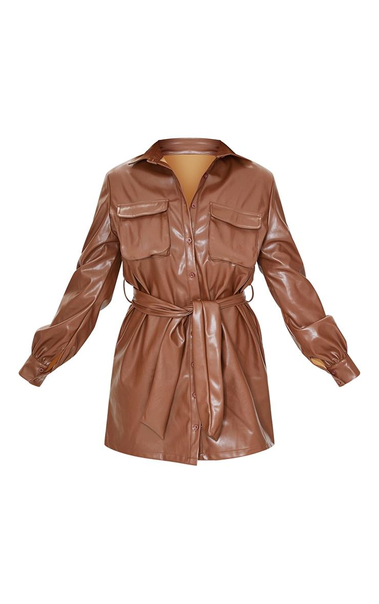 Chocolate Faux Leather Pocket Detail Shirt Dress 5