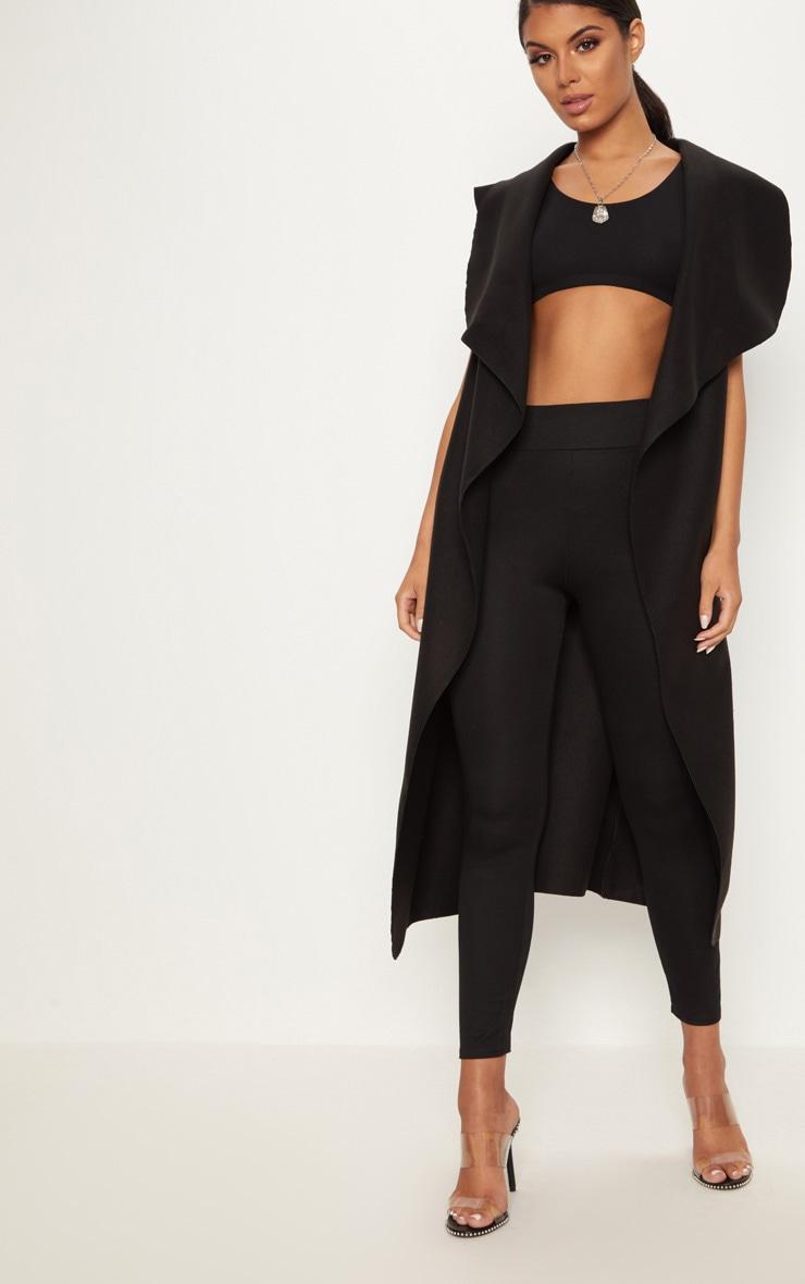 Black Sleeveless Waterfall Belt Coat 1