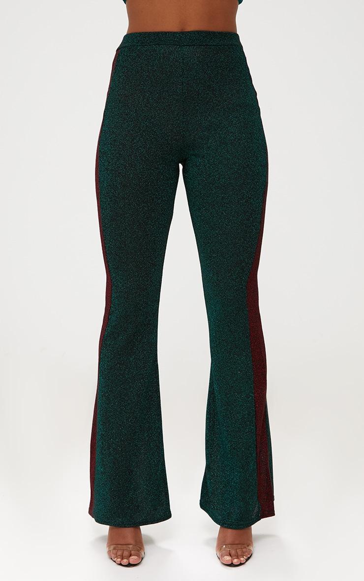 Emerald Green Metallic Track Stripe Kick Flare Trousers 2