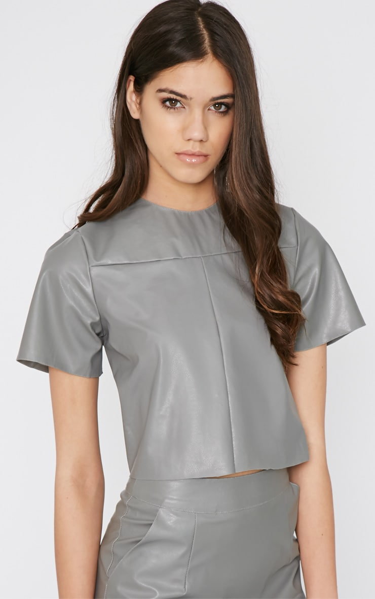Flo Grey Leather Crop Top  1