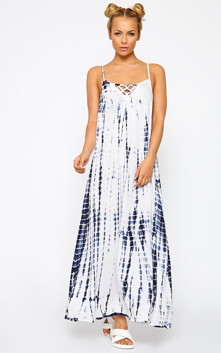 Amoura Blue Tie Dye Lattice Back Dress 3