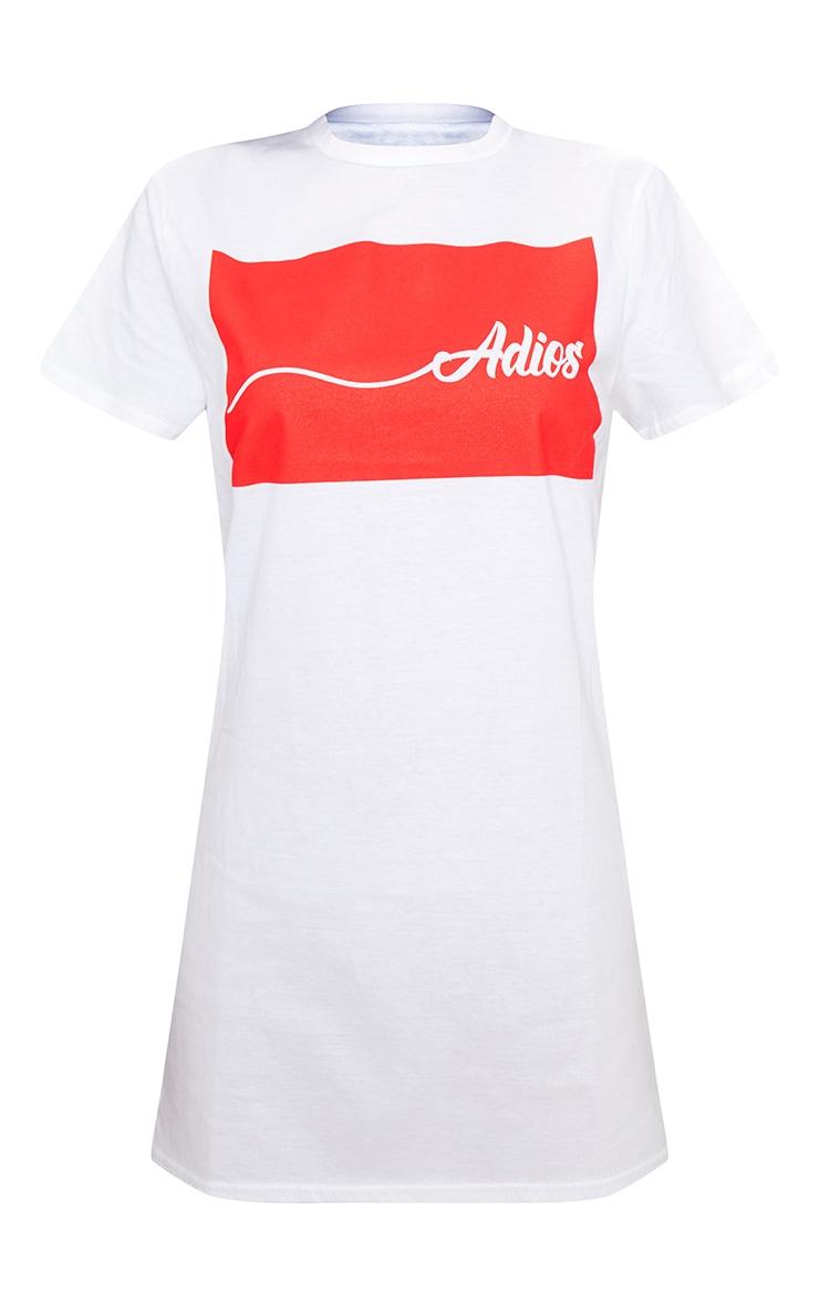 Adios White Oversized T Shirt Dress  3
