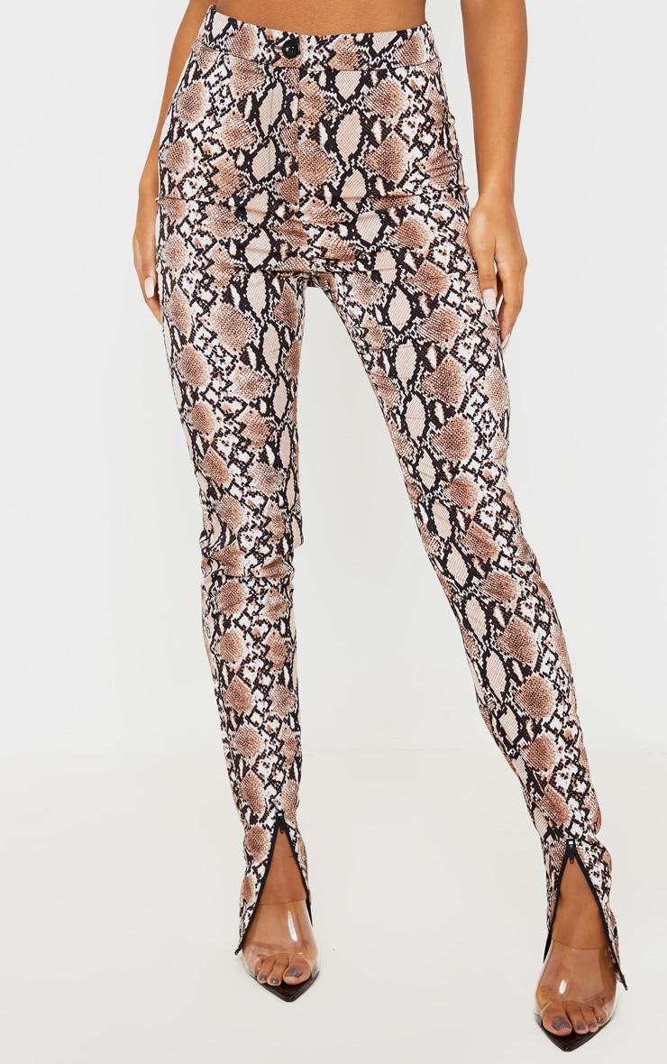 Snake Zip Hem Woven Skinny Pants 2