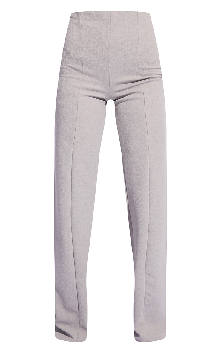 Grey Crepe Seam Front Wide Leg Trousers 5