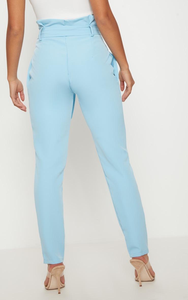 Powder Blue Paperbag Waist Trousers 4