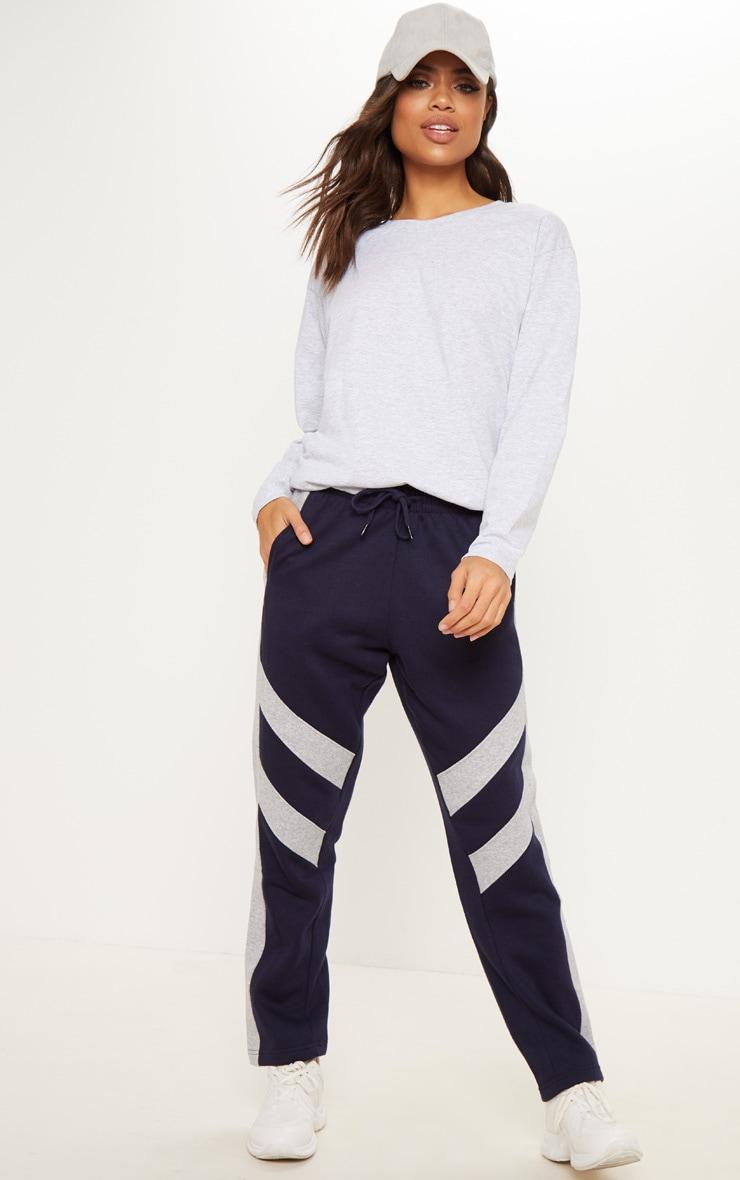 Navy Contrast Track Stripe Straight Leg Jogger