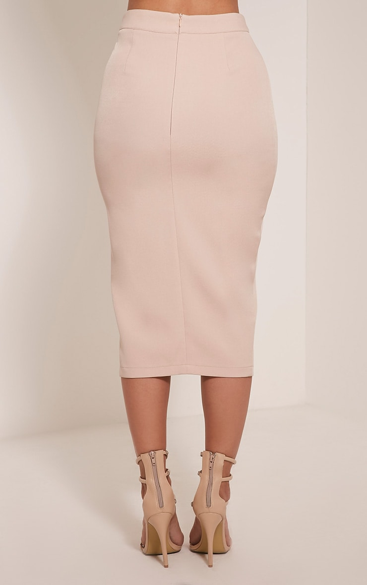 Janelle Nude Lace Up Midi Skirt 5