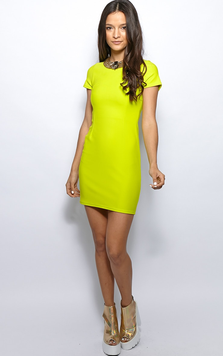 Lillie Lime Ribbed Bodycon Mini Dress 3