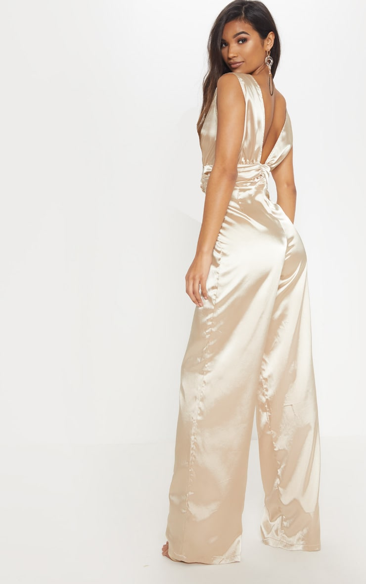 Champagne Wrap Over Ruched Waist Jumpsuit 2