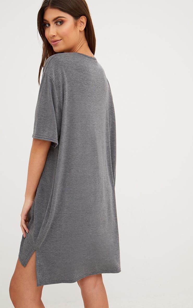 Charcoal Jersey Stepped Hem T Shirt Dress 2