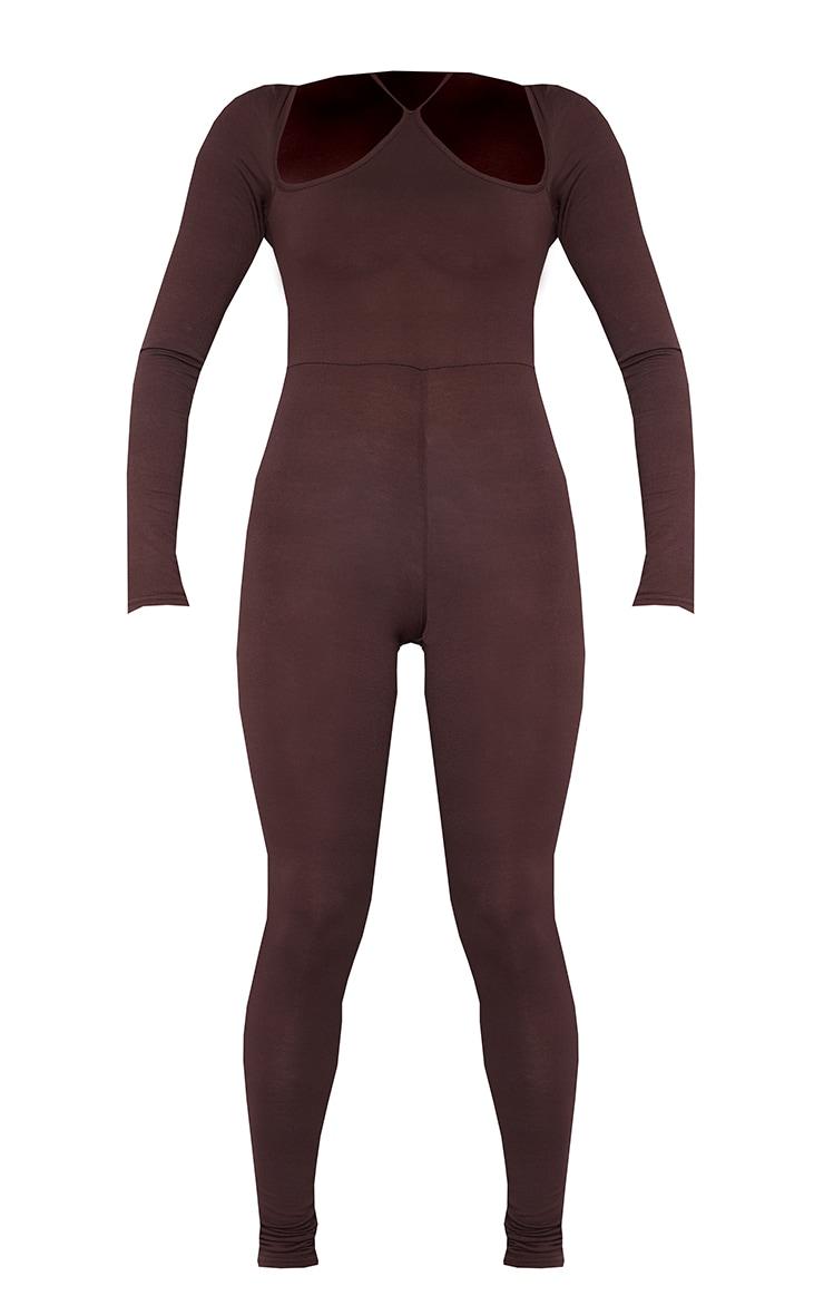 Chocolate Long Sleeve Halterneck Strap Jumpsuit 5