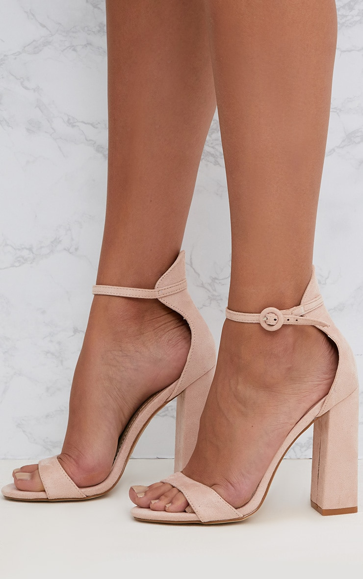 Nude Faux Suede Block High Heeled Sandals 2