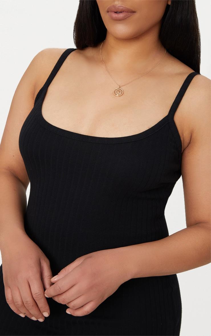 Plus Black Second Skin Thick Ribbed Midi Dress 5