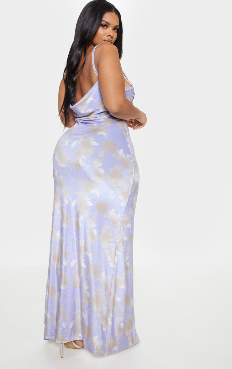 Pale Blue Velvet Cowl Neck Maxi Dress 3