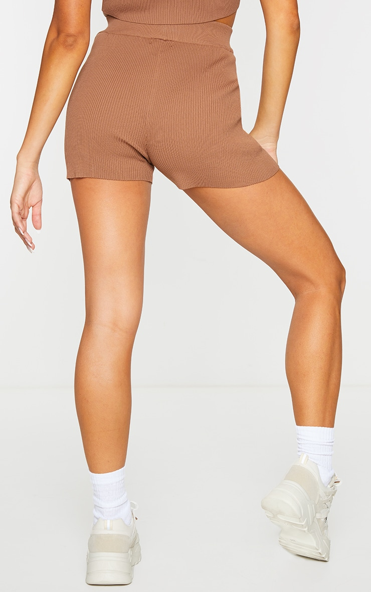 Chocolate Ribbed Knitted High Waist Hot Pant Shorts 3