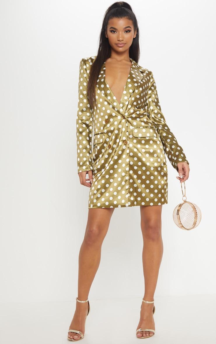 Khaki Polka Dot Satin Blazer Dress 4