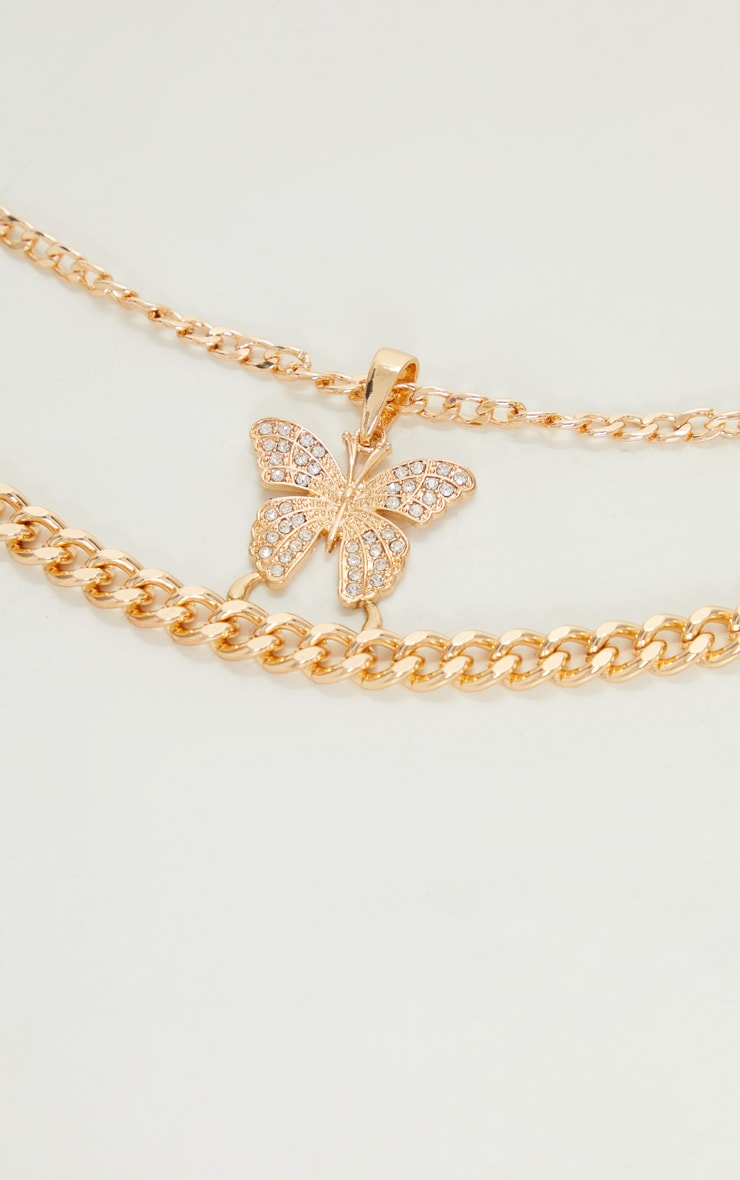 Gold Oversized Butterfly Necklace 4