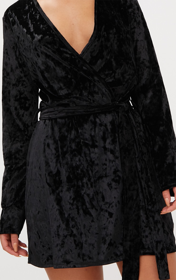 Black Velvet Wrap Over Shift Dress 5