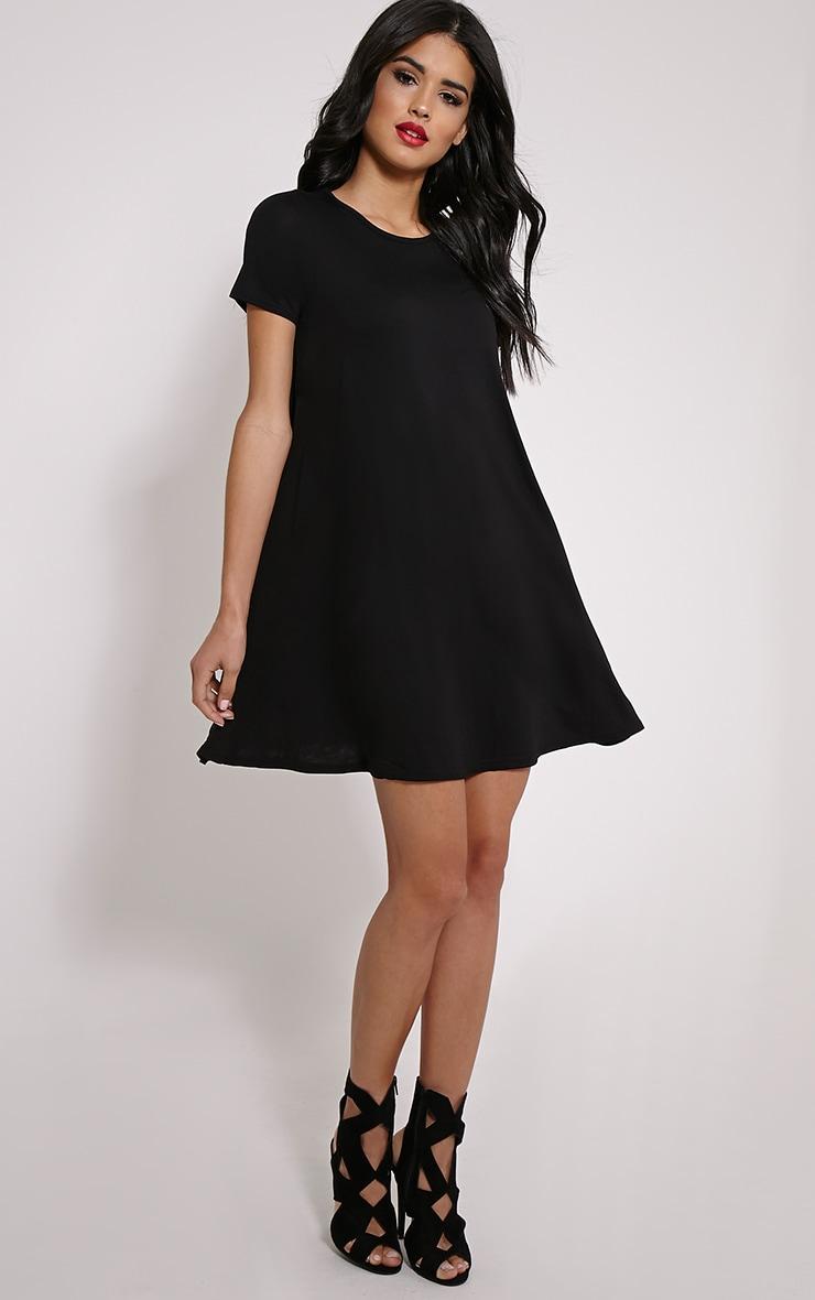 Basic robe trapèze en jersey noire 3