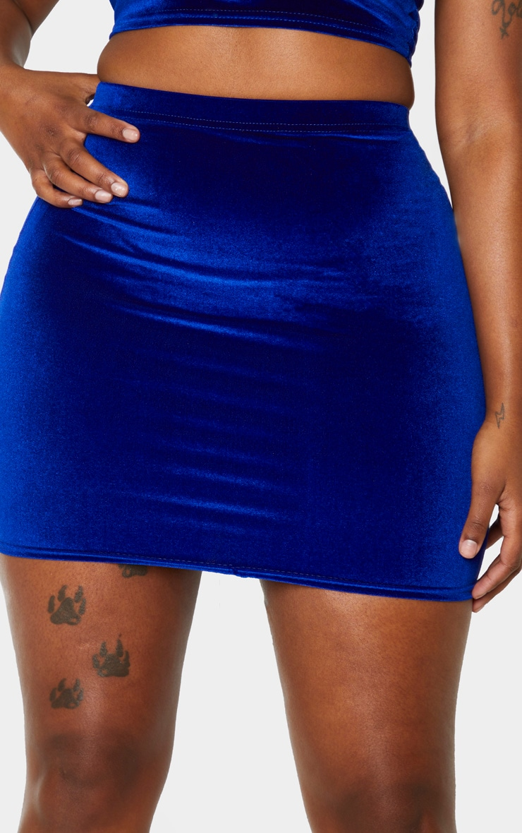 Shape Cobalt Velvet High Waist Bodycon Skirt 5