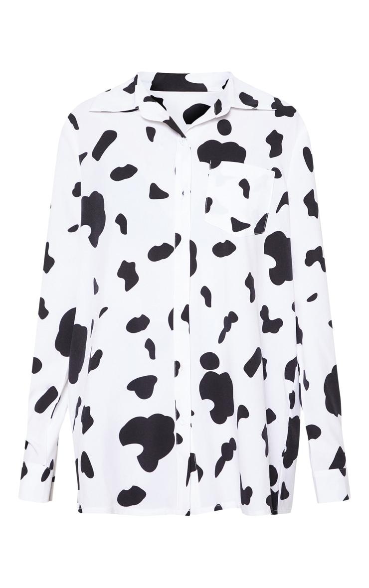 Monochrome Cow Print Oversized Shirt 3