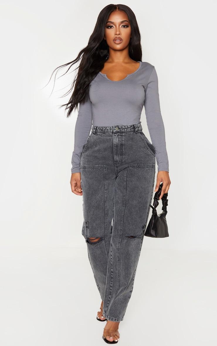 Shape Charcoal Cotton V neck Long Sleeve Bodysuit 5