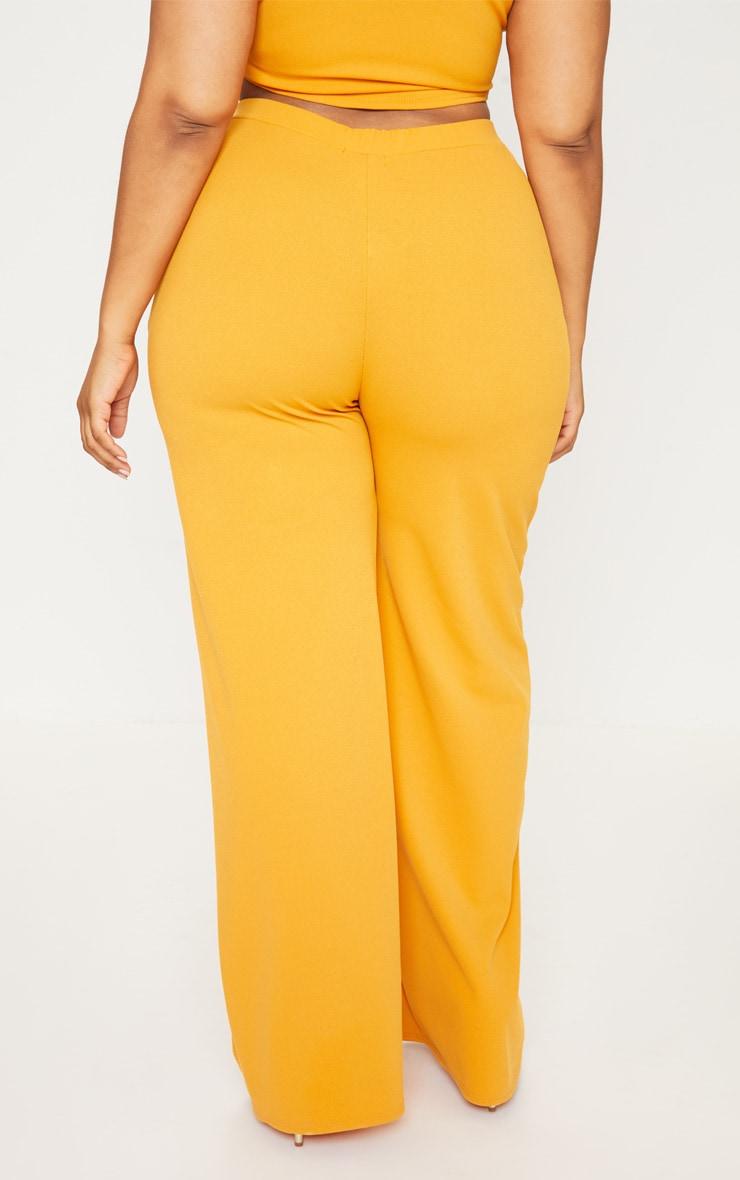 Plus Mustard Button Detail Wide Leg Pants 4