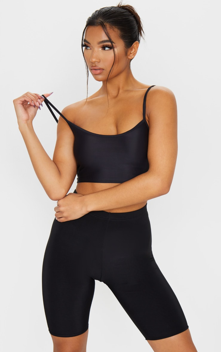 Black Stretch Slinky Scoop Neck Crop Top 1