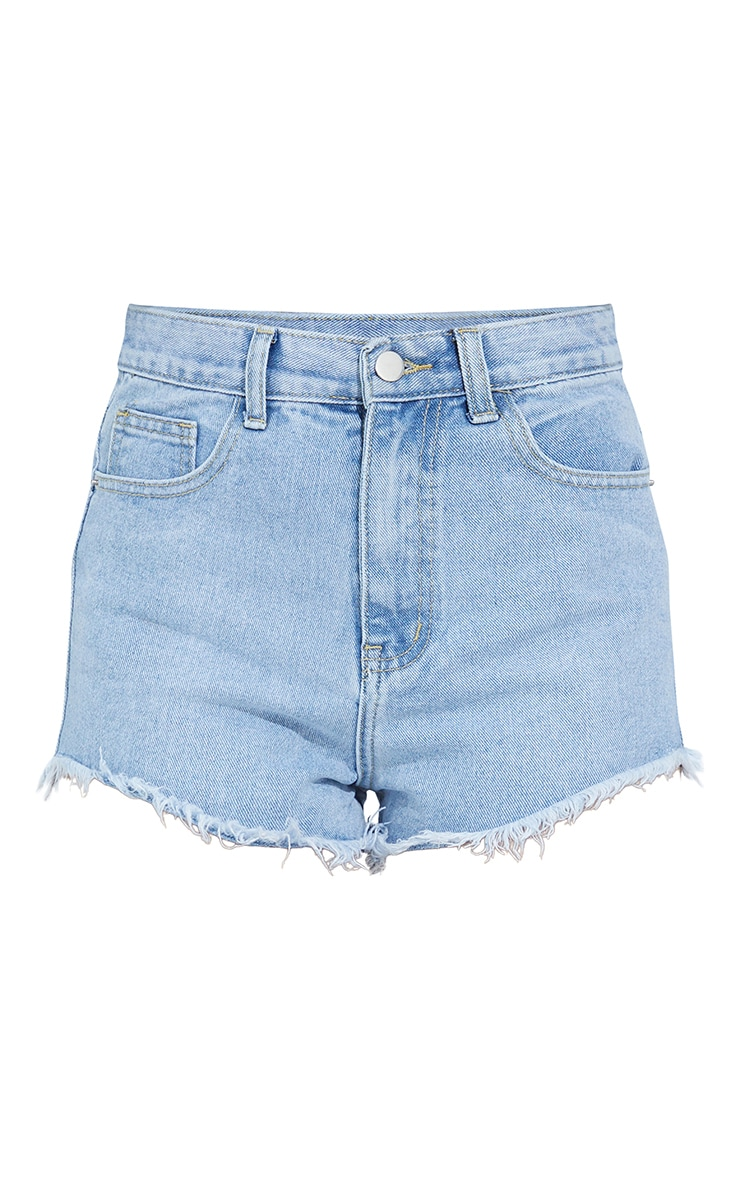 Petite Light Blue Wash Frayed Hem Denim Shorts 6