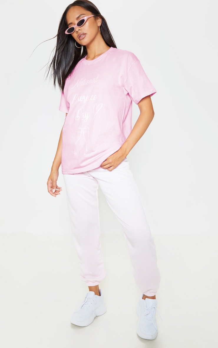 Pink National Prosecco Day Oversized T Shirt 3